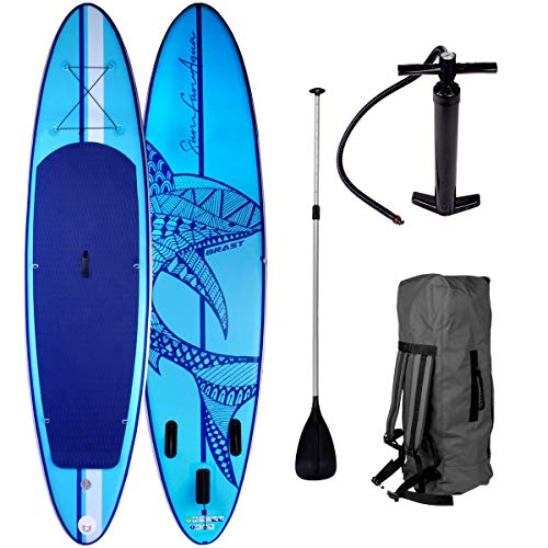 SUP Board Stand up Paddle Paddling Shark Blau...