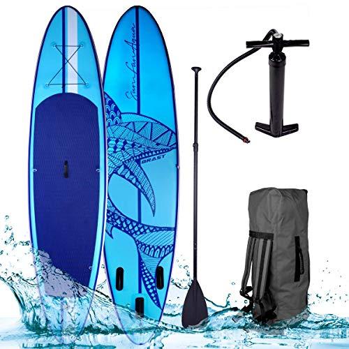 SUP Board Stand up Paddle Paddling Shark Blau...